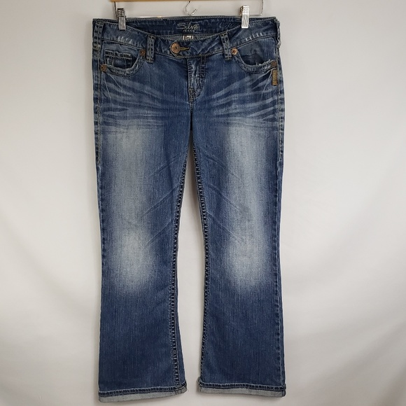 Silver Jeans Denim - Silver Jeans Distressed Whiskered Boot Cut Jeans